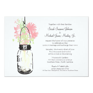 Mason Jar and Wildflowers Wedding 13 Cm X 18 Cm Invitation Card