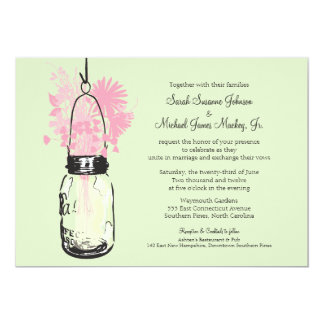 Mason Jar and Wildflowers Wedding Card