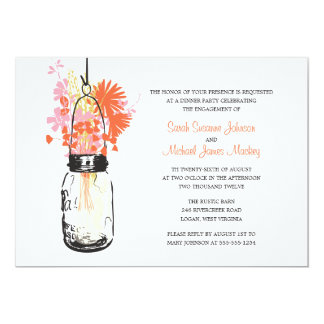 Mason Jar and Wildflowers Wedding Engagement Card