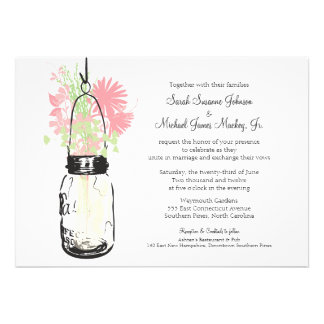 Mason Jar and Wildflowers Wedding Personalized Invite