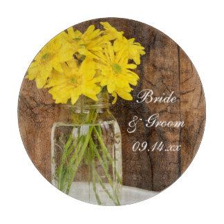 Mason Jar and Yellow Daisies Country Barn Wedding Cutting Board