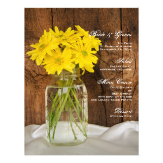 Mason Jar and Yellow Daisies Country Wedding Menu 21.5 Cm X 28 Cm Flyer