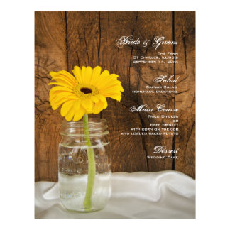 Mason Jar and Yellow Daisy Country Wedding Menu 21.5 Cm X 28 Cm Flyer