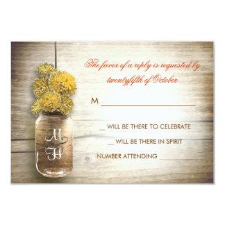 Mason jar and yellow flowers wedding RSVP card 9 Cm X 13 Cm Invitation Card