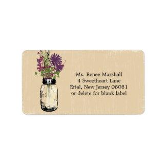 Mason Jar & Autumn Wildflowers Address Label