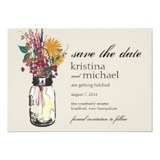Mason Jar & Autumn Wildflowers Save the Date 13 Cm X 18 Cm Invitation Card