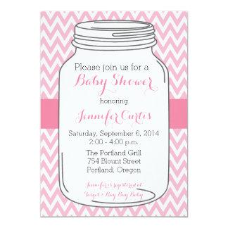 Mason Jar Baby Shower Invitations, Girl, Chevron Card
