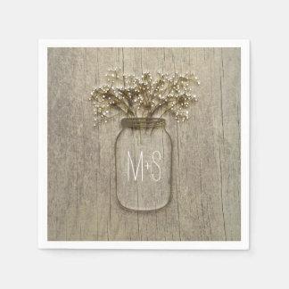 Mason Jar Baby's Breath Rustic Wedding Disposable Napkins