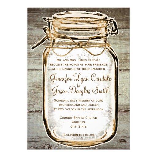 Mason Jar Barn Wood Rustic Wedding Invitations Custom Invite