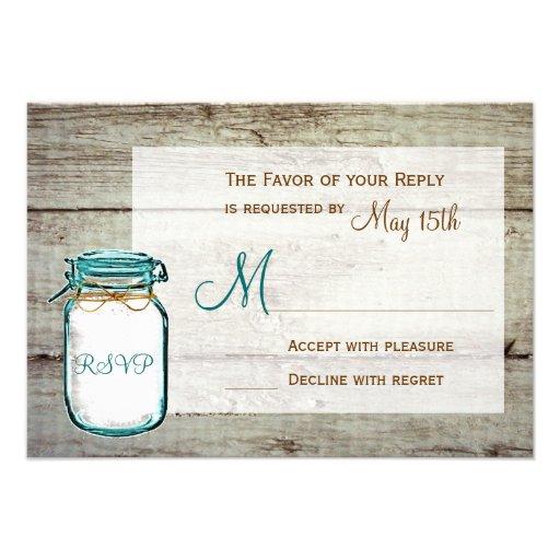 Mason Jar Barn Wood Rustic Wedding RSVP Cards