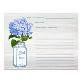 Mason Jar & Blue Hydrangea Grey Recipe Card 11 Cm X 14 Cm Invitation Card
