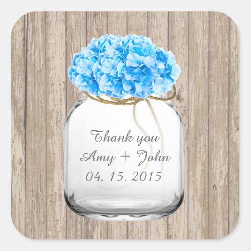 Mason jar blue hydrangea wedding favors hyd2 sticker