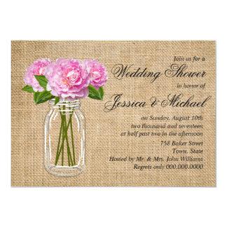 Mason Jar Burlap Peony Wedding Shower Card