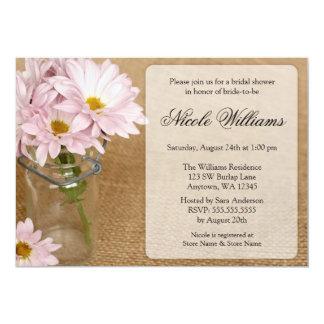 Mason Jar Burlap Soft Purple Daisies Bridal Shower 13 Cm X 18 Cm Invitation Card