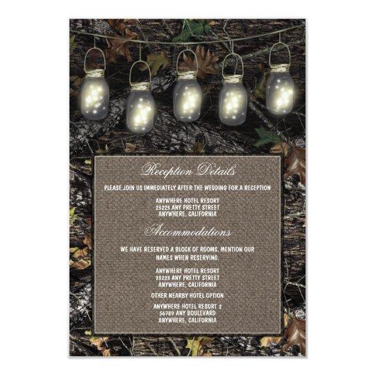 Camo Wedding Reception Ideas: Mason Jar Camo Wedding Reception Enclosure Cards