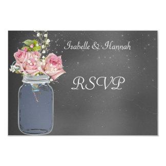 Mason Jar, Chalkboard, Lesbian Wedding RSVP Card 9 Cm X 13 Cm Invitation Card