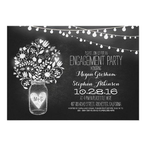 mason jar chalkboard & lights engagement party personalized invites
