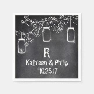 Mason Jar Chalkboard String Lights Rustic Wedding Paper Napkins