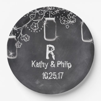 Mason Jar Chalkboard String Lights Rustic Wedding Paper Plate