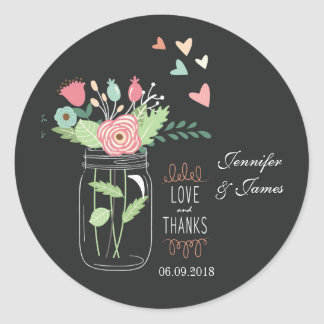Mason jar charcoal wedding sticker favours seals