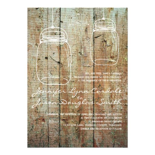 Mason Jar Country Barn Wood Wedding Invitations
