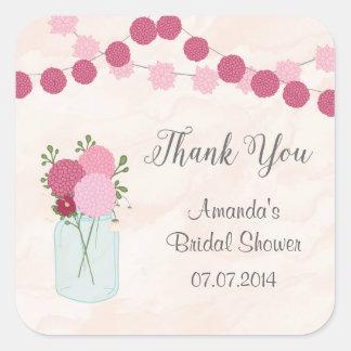 Mason Jar Dahlia Bridal Shower Thank You Stickers