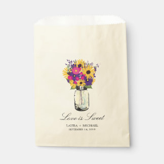 Mason Jar Daisies and Sunflowers   Favors Favour Bag