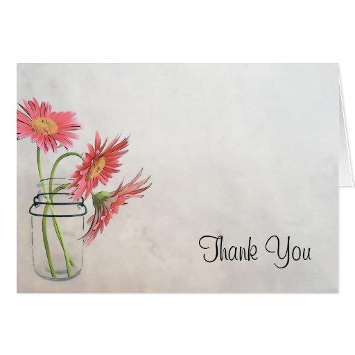 Mason Jar Daisies Card - Thank You