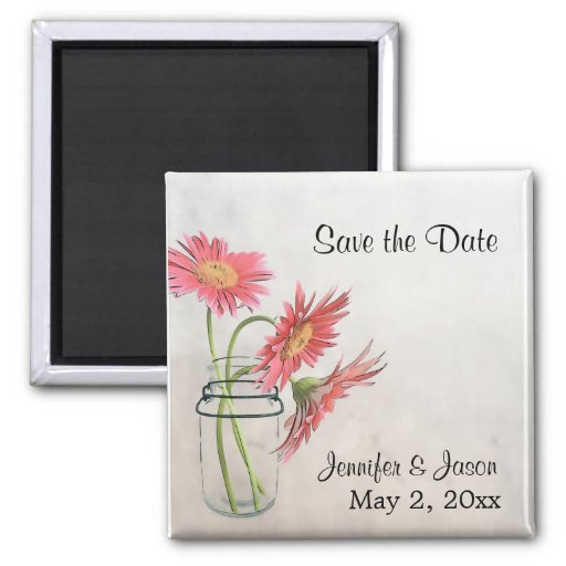 Mason Jar Daisies Magnet  - Save the Date