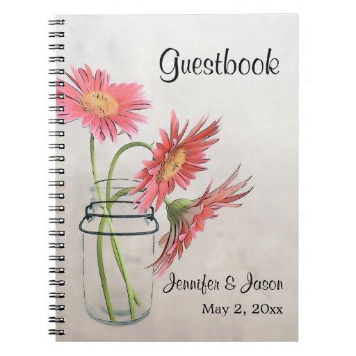 Mason Jar Daisies Notebook - Guestbook