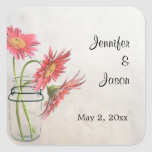 Mason Jar Daisies Stickers  - Save the Date