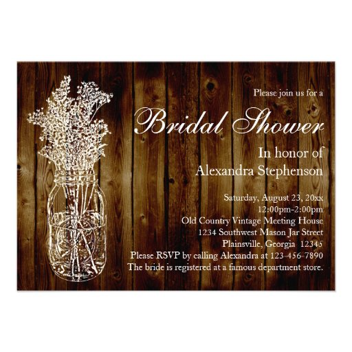 Mason Jar Dark Wood-Look Bridal Shower Invitation
