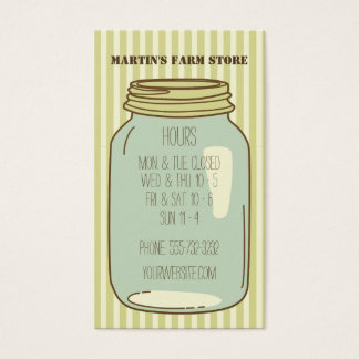 Mason Jar Farm Store Hours Business Card