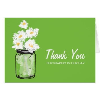 Mason Jar filled with White Daisies Note Card