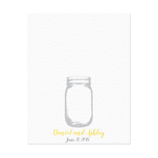 Mason Jar Fire Flies Wedding Fingerprint Guestbook