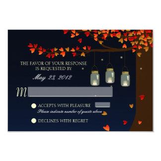 Mason Jar Fireflies Oak Tree RSVP 9 Cm X 13 Cm Invitation Card