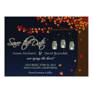 Mason Jar Fireflies Oak Tree Save the Date 13 Cm X 18 Cm Invitation Card