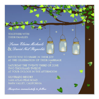 Mason Jar Fireflies Oak Tree Wedding Invite