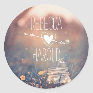 Mason Jar Fireflies Rustic Wedding Round Sticker