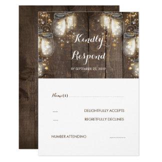 Mason Jar Firefly Lights Rustic Wedding RSVP Card