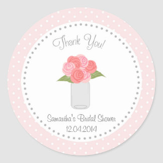 Mason Jar Flower Bridal Shower Sticker Polka dot