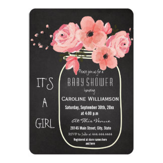 Mason Jar Flowers Chalkboard Baby Shower 13 Cm X 18 Cm Invitation Card