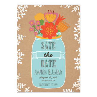 Mason Jar Flowers Craft Paper Save the Date Photo 11 Cm X 16 Cm Invitation Card