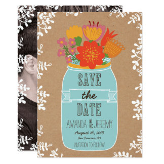 Mason Jar Flowers Craft Paper Save the Date Photo Card