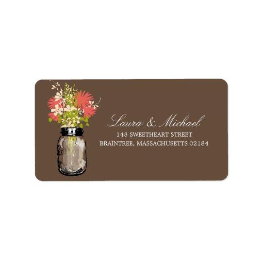Mason Jar Flowers   Mailing Address Address Label