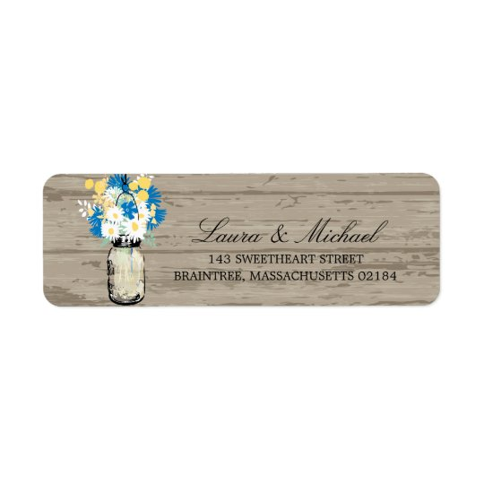 Mason Jar Flowers | Return Address Return Address Label