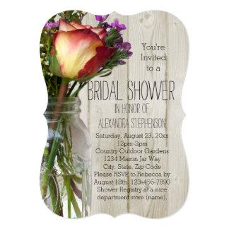"Mason Jar Flowers Vintage Rustic Bridal Shower 5"" X 7"" Invitation Card"