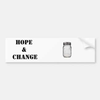 Mason Jar: Hope and Change Bumper Sticker