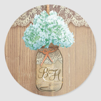 Mason Jar Hydrangea Floral Rustic Wedding Round Sticker