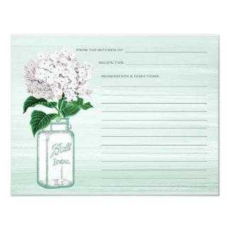 Mason Jar & Hydrangea Mint Green Recipe Card 11 Cm X 14 Cm Invitation Card